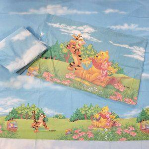 Disney Pooh Sheet Set 3 Pc Flat Fitted Pillowcase